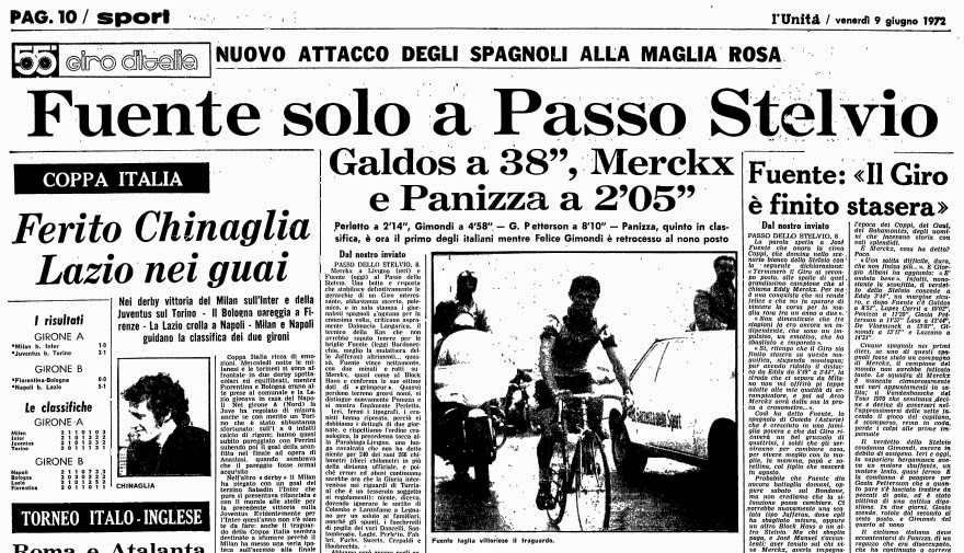 1972 giro after stelvio stage - fUENTE STELVIO