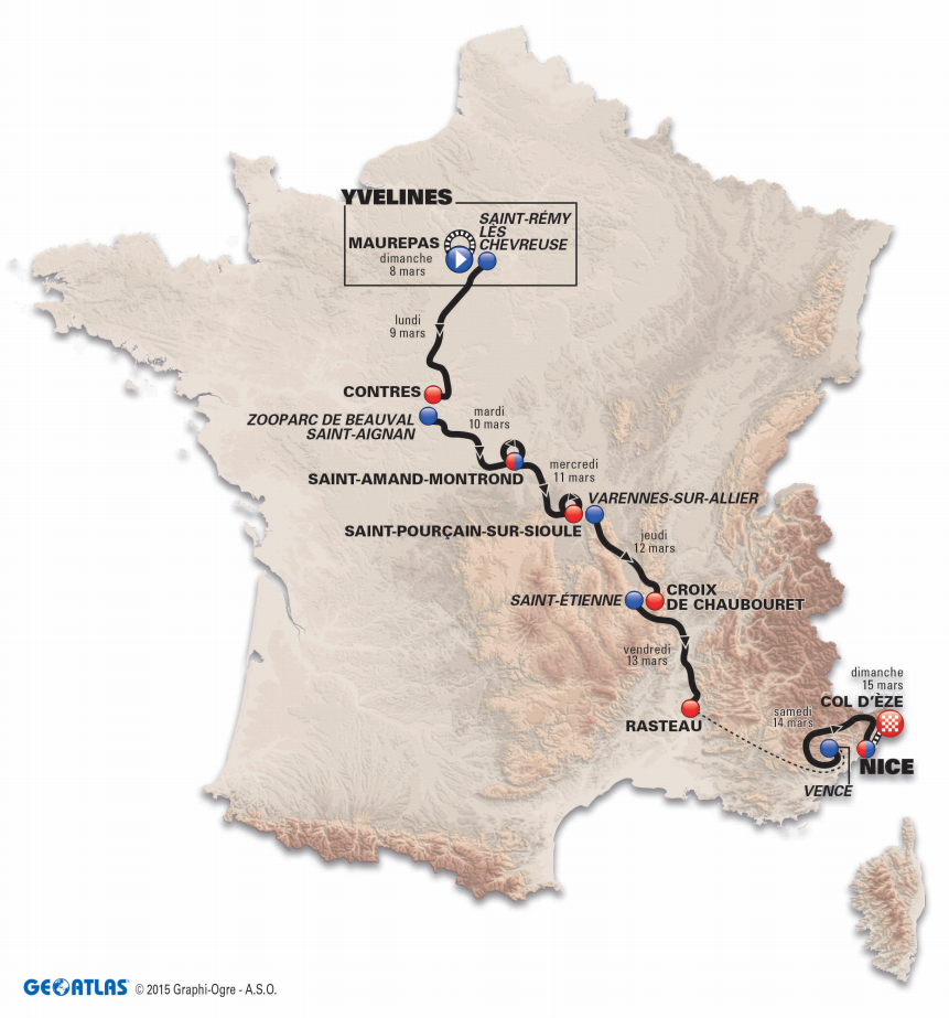 Paris - Nice 2015 map