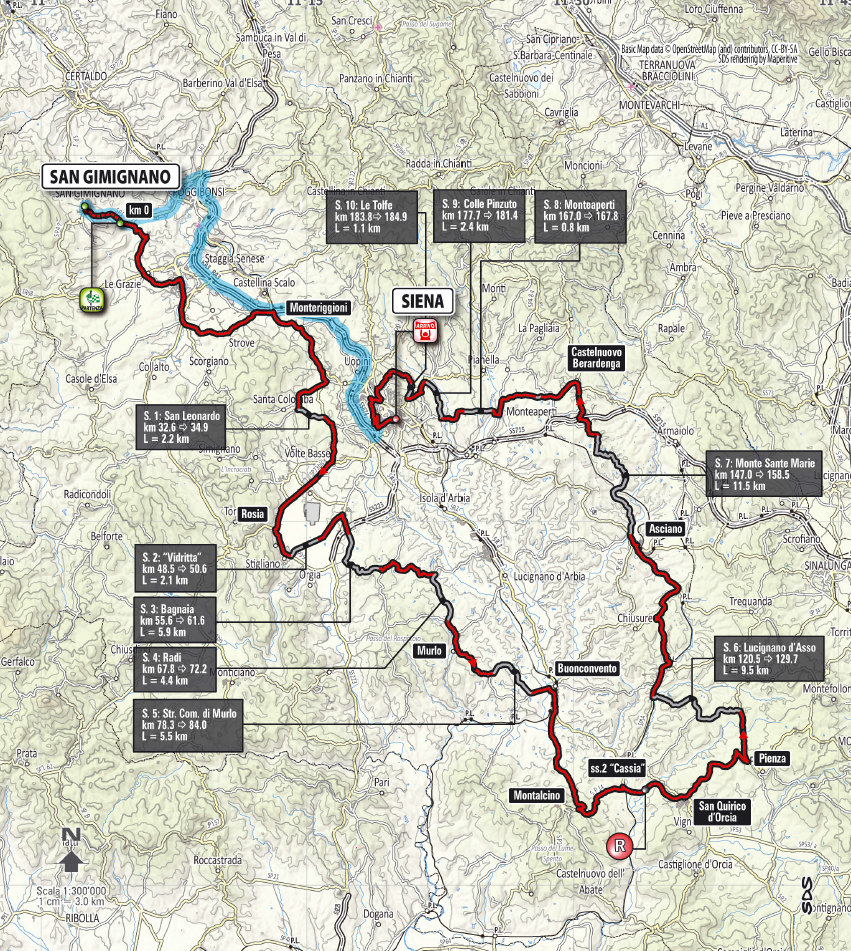 Strade Bianche 2015 map