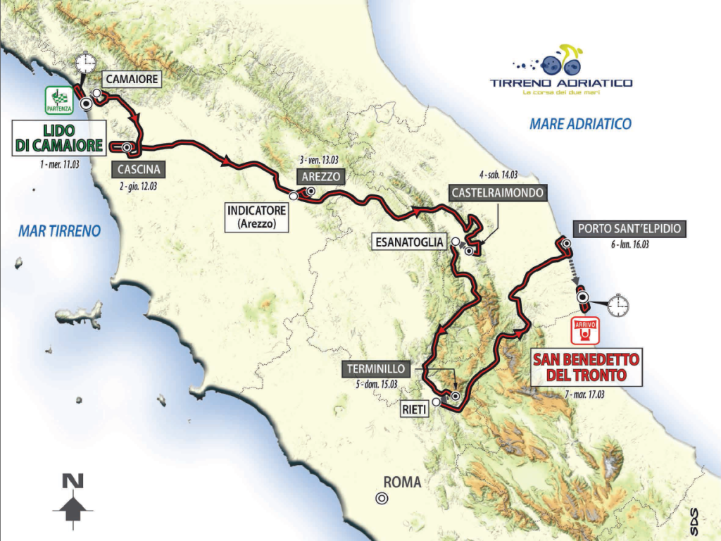 Tirreno - Adriatico 2015 map
