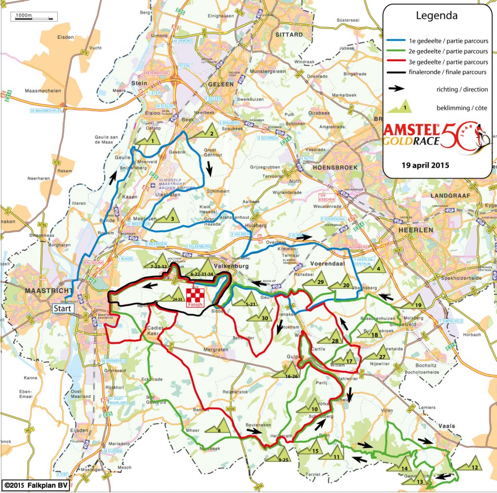 amstel gold race 2015 - map
