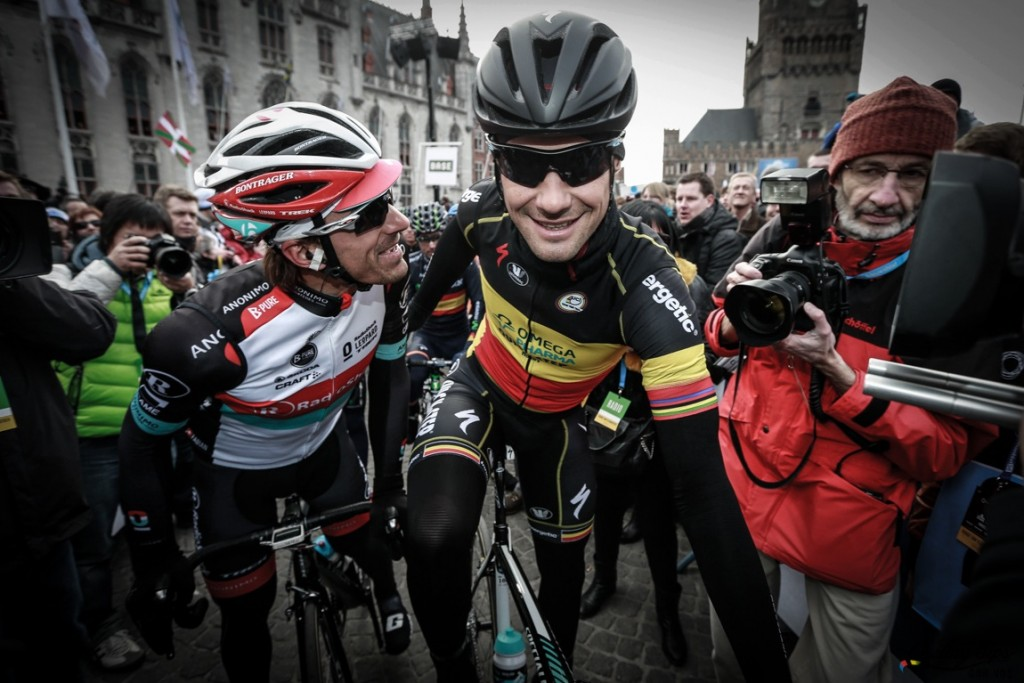 Oudenaarde - Belgium  - wielrennen - cycling - radsport - cyclisme - Fabian Cancellara (Switzerland / Team Radioshack Leopard) - Tom Boonen (Belgium / Team Omega Pharma - Quickstep) at the start in Brugge pictured during The Tour of Flanders 2013  in Oudenaarde - Belgium on 31- 03 -2013 - photo JMPNCor Vos © 2013